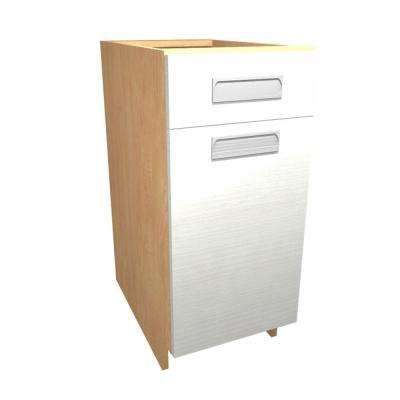Genoa Ready to Assemble 15 x 34.5 x 24 in. Base Cabinet with 1 Soft Close Door and 1 Soft Close Drawer in Glacier