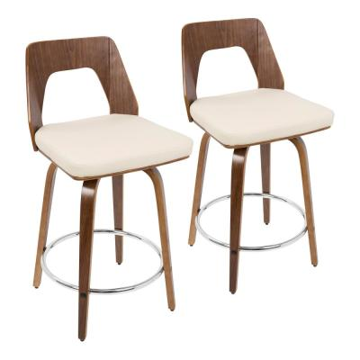 Trilogy 24 in. Walnut and Cream Faux Leather Counter Stool (Set of 2)