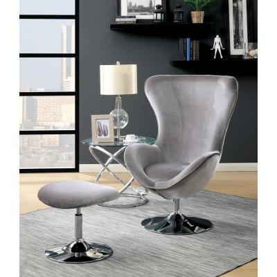 Sheila Gray Accent Chair with Ottoman - High Chair Back