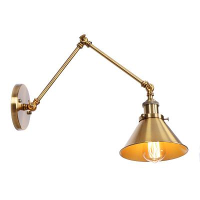 1-Light Brass Sconce Vintage Industrial Wall Lamp with Swing Arm