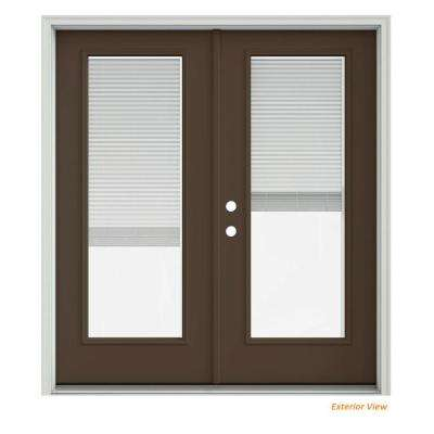 72 in. x 80 in. Dark Chocolate Painted Steel Right-Hand Inswing Full Lite Glass Stationary/Active Patio Door w/Blinds