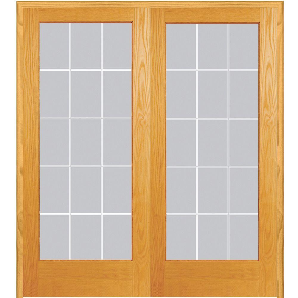 Mmi door 72 in x 80 in both active unfinished pine glass - Interior french doors home depot ...