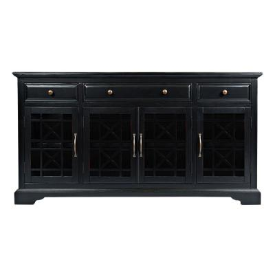 Craftsman Series 60 in. W Antique Black Wooden Media Unit Fits 60 in. TV with 3 Drawers