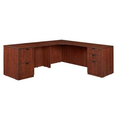Magons 71 in. Cherry Double Full Pedestal Left Corner Credenza