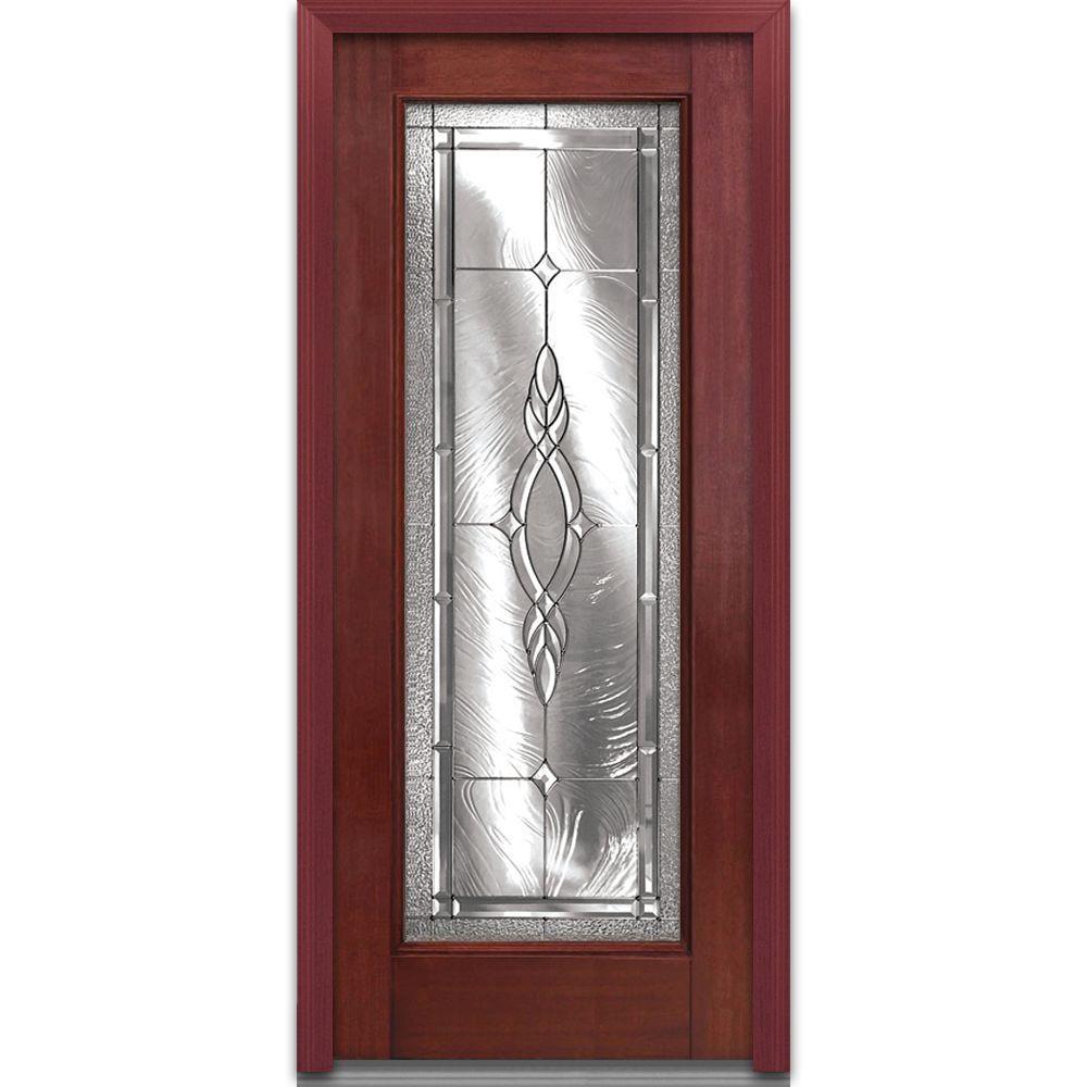 MMI Door 36 in. x 80 in. Brentwood Right-Hand Full Lite Classic Stained Fiberglass Mahogany Prehung Front Door