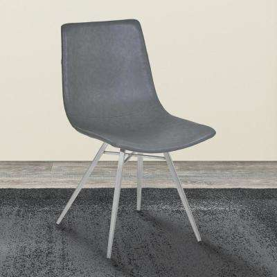 Athens 34 in. Vintage Gray Faux Leather and Brushed Stainless Steel Dining Chair (Set of 2)