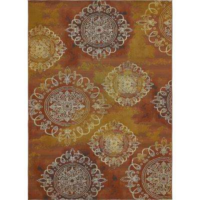 "Outdoor Modern Rust Red 8' x 11'4"" Rug"
