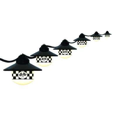 6-Light Outdoor Black Shaded String Light Set with Checkered Flag Logos