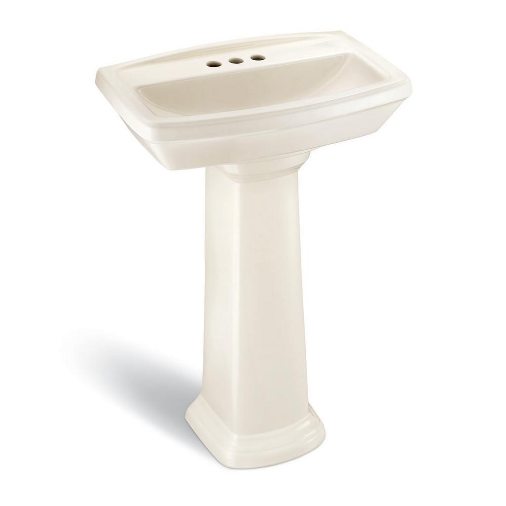 Designer Series 24 in. Pedestal Sink Basin with 4 in. Faucet Center in Bone
