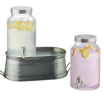 Farmhouse Beverage Dispenser set with Galvanized stand and Two 1.5 Gal. Dispensers