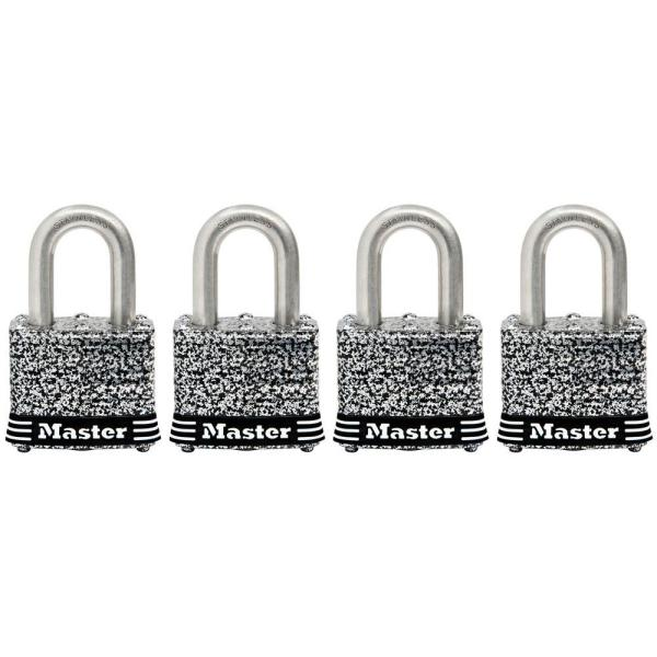 1-9/16in (40mm) Wide Laminated Stainless Steel Pin Tumbler Padlock; 4 Pack