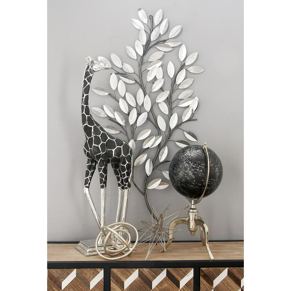 Litton Lane Natural Iron Silver Leaves And Stems Wall Decor 56848