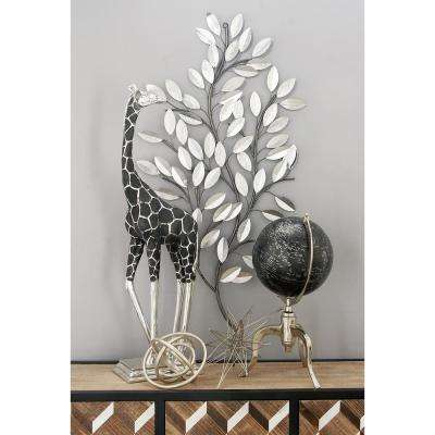 Natural Iron Silver Leaves and Stems Wall Decor