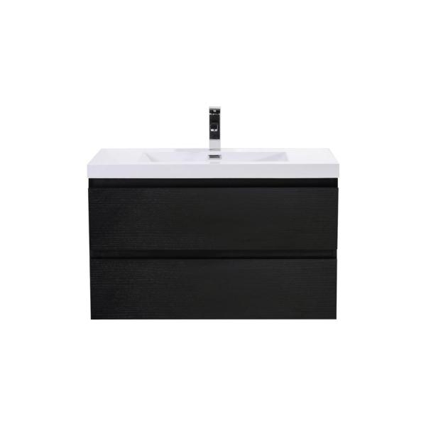 Bohemia 36 in. W Bath Vanity in Rich Black with Reinforced Acrylic Vanity Top in White with White Basin