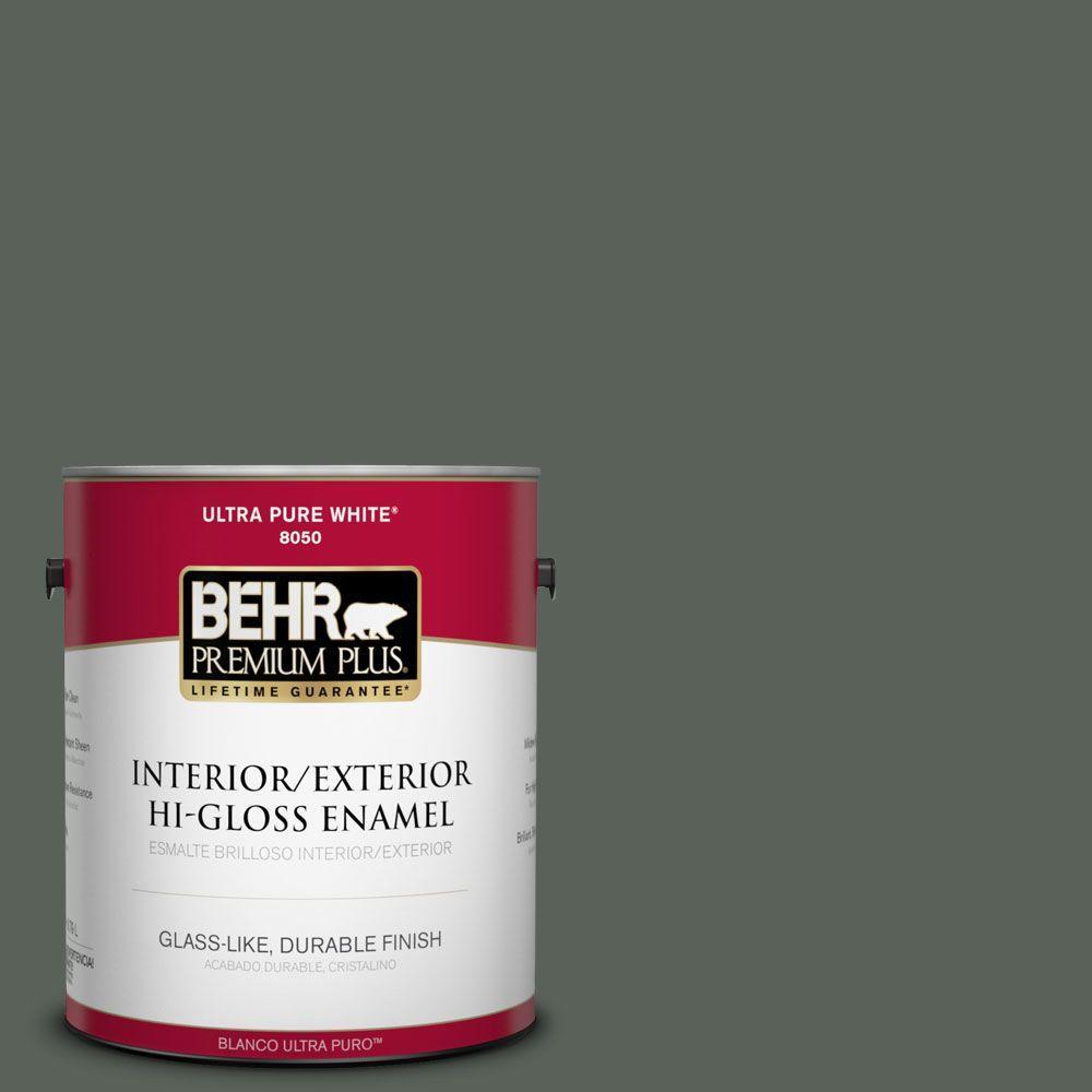 1-gal. #PPF-45 Woodland Moss Hi-Gloss Enamel Interior/Exterior Paint