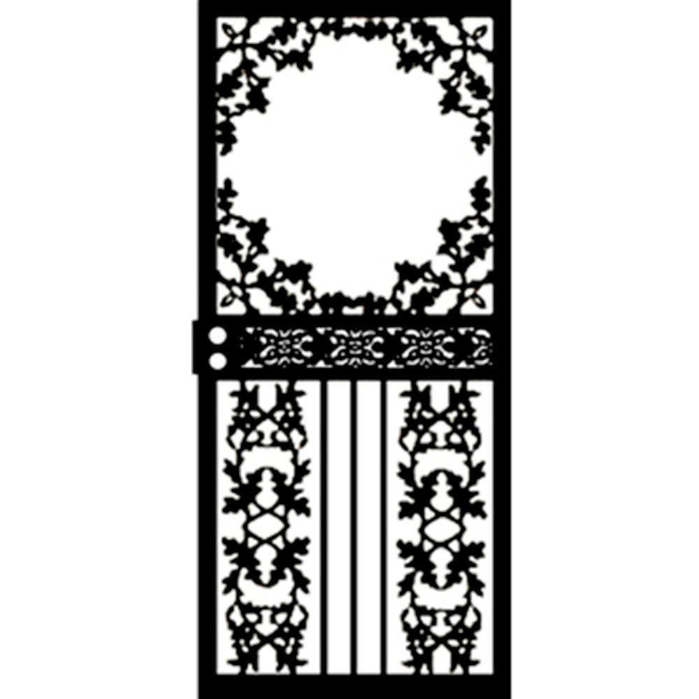 Grisham 36 in. x 80 in. 461 Series Black Scenic Hinge Right Security Door