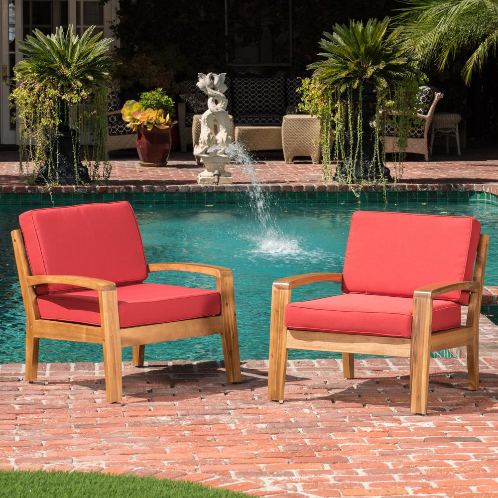 Teak brown acacia wood outdoor lounge chairs with red cushion 2 pack