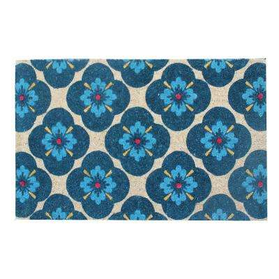 A1HC First Impression Yahir Floral 24 in. x 48 in. Coir Door Mat