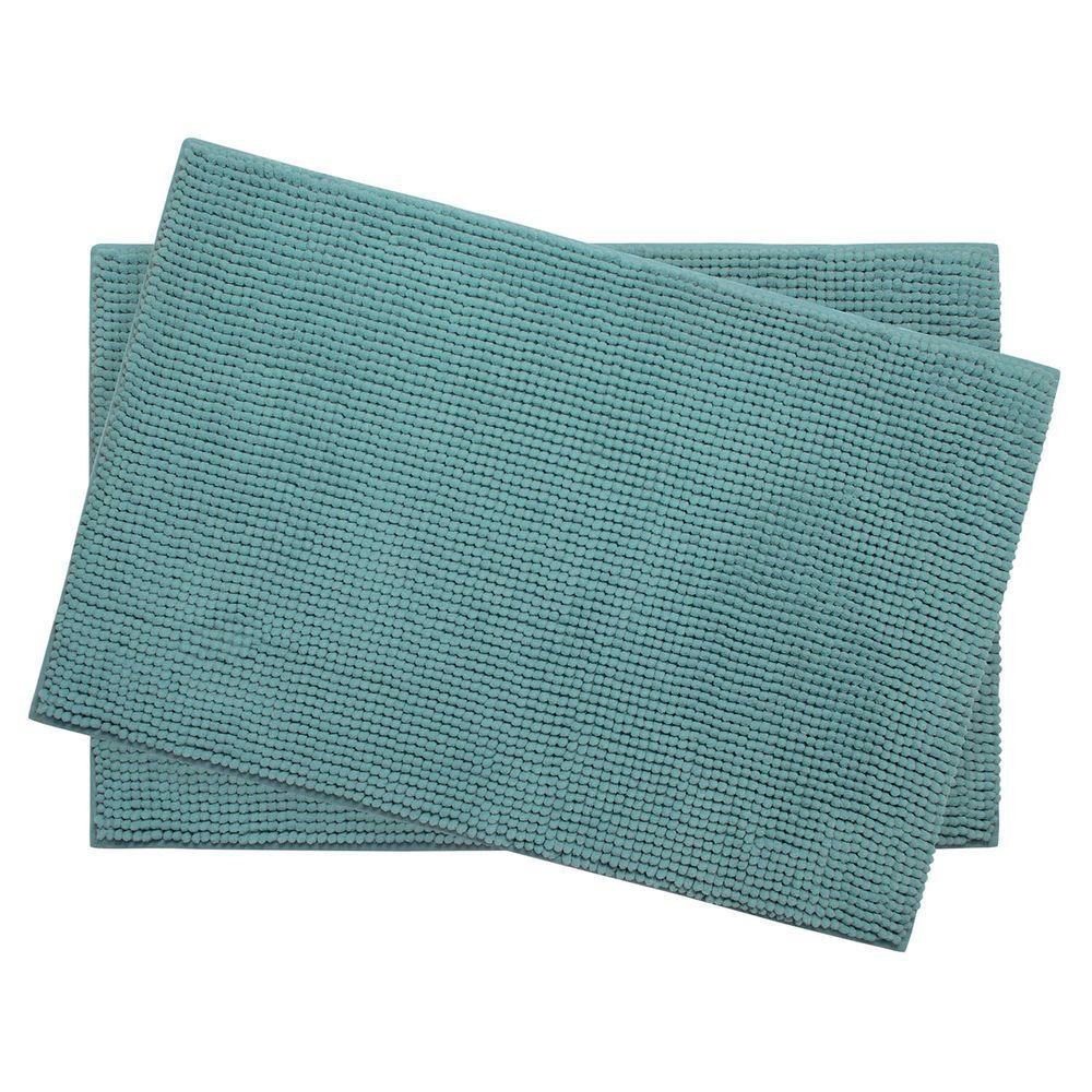 Plush Chenille Marine Blue 17 in. x 24 in. Memory Foam 2-Piece Bath Mat Set