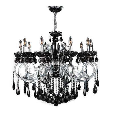 Kronos 10-Light Polished Chrome with Black Crystal Large Chandelier
