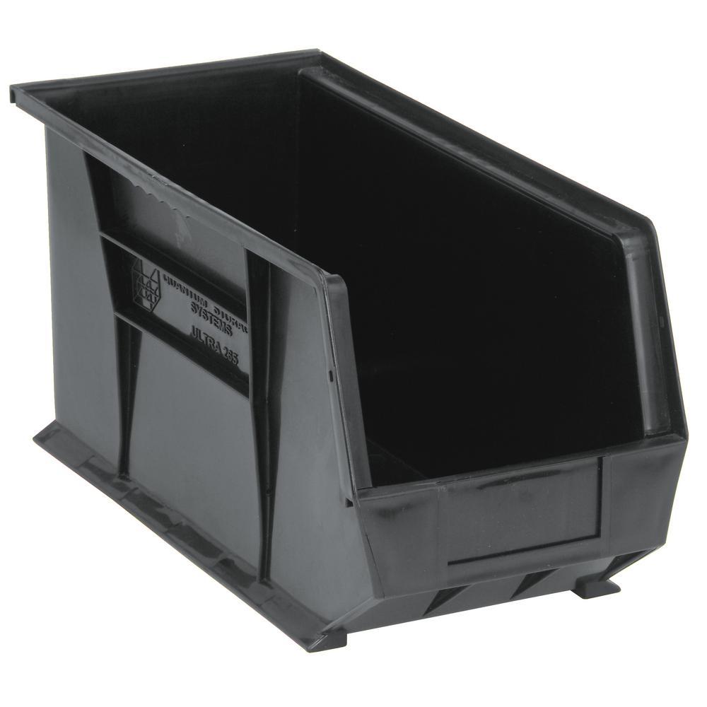Ultra Series Stack and Hang 7 Gal. Storage Bin in Black (6-Pack)