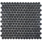 Hudson Penny Round Matte Black 12 in. x 12-5/8 in. x 5 mm Porcelain Mosaic Tile (10.74 sq. ft. / case)