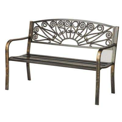 50 in. Bronze Starburst Design Steel Outdoor Bench