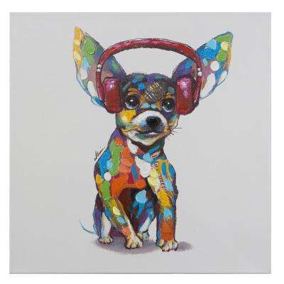 """24 in. H x 24 in. W """"Dog Beats IV"""" Artwork in Acrylic Canvas Wall Art"""