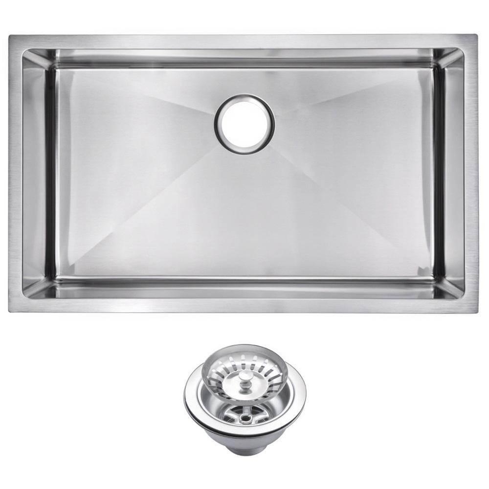 Undermount Stainless Steel 32 in. Single Bowl Kitchen Sink with Strainer in Satin