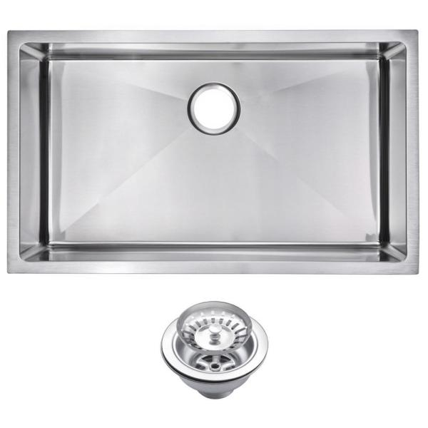 Undermount Stainless Steel 32 in. Single Bowl Kitchen Sink with Strainer in Satin