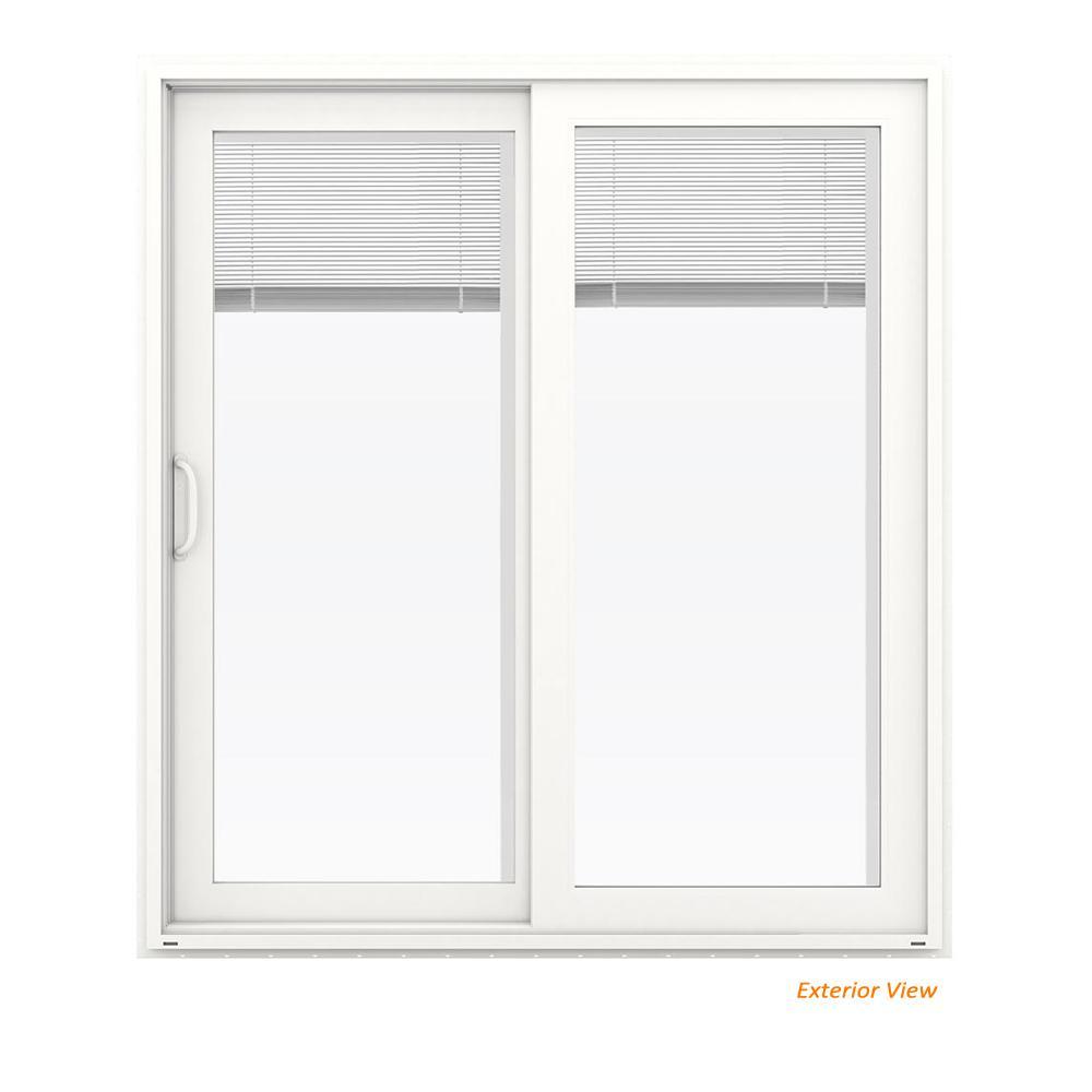 72 in. x 80 in. V-4500 White Vinyl Left-Hand Full Lite Sliding Patio Door w/Blinds
