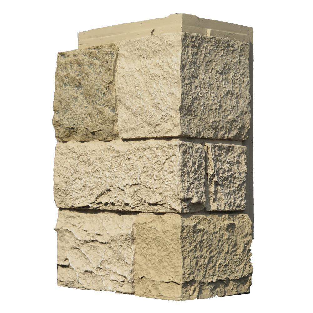 Castle Rock Berkshire Buff 11 in. x 7 in. Faux Stone Siding Outside Corner (4-Pack)