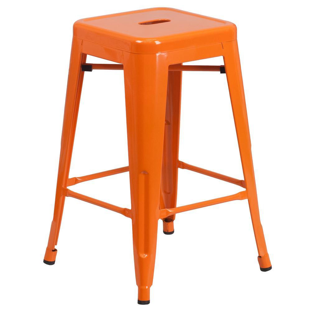 24 in. Orange Bar Stool