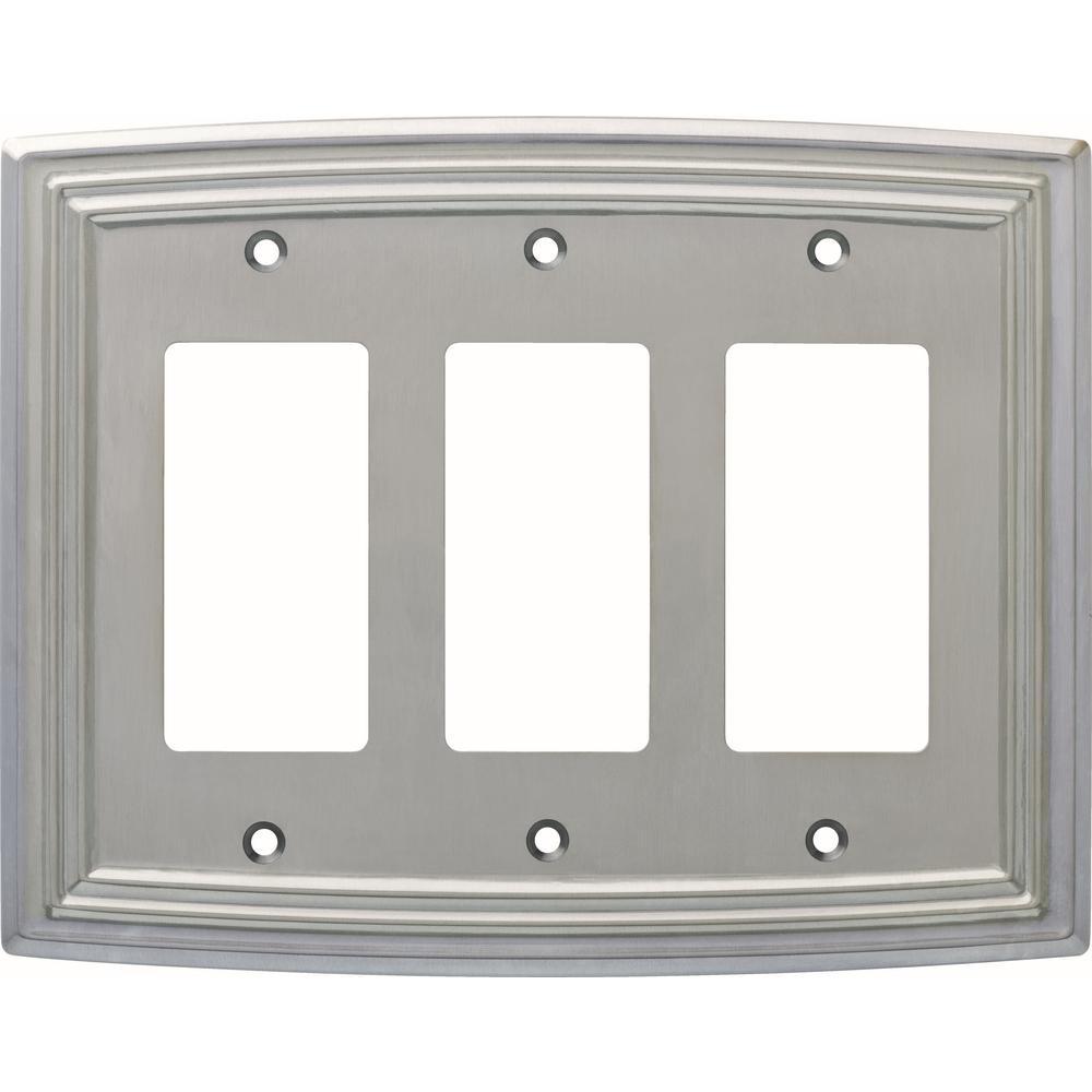 Nickel 3-Gang Decorator/Rocker Wall Plate (1-Pack)