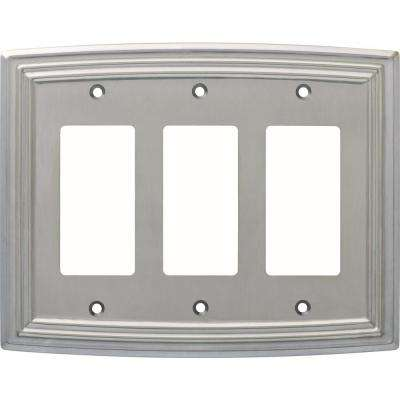 Emery Decorative Triple Rocker Switch Cover, Satin Nickel