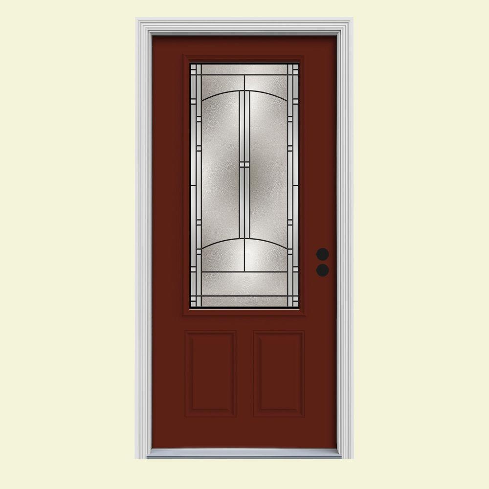 32 in. x 80 in. 3/4 Lite Idlewild Mesa Red w/White Interior Steel Prehung Left-Hand Inswing Front Door