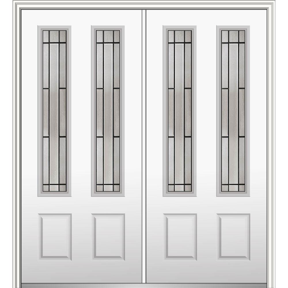 72 in. x 80 in. Solstice Glass Right-Hand 2-3/4-Lite 2-Panel Classic Primed Steel Prehung Front Door