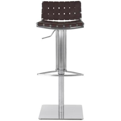 Mitchell 29.5 in. Brown Adjustable Height Stainless Steel Bar Stool