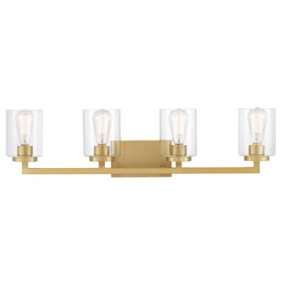 Westlyn 4-Light Brushed Brass Vanity Light with Clear Optic Glass Shades