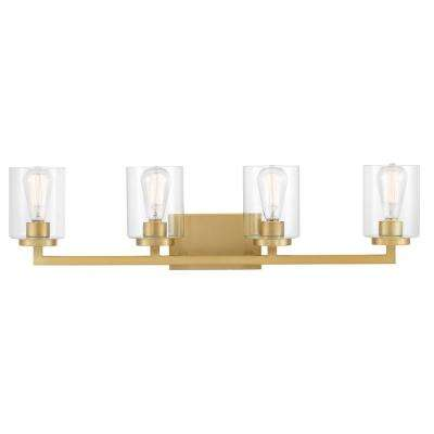Westlyn 7.875 in. 4-Light Brushed Brass Vanity Light with Clear Optic Glass Shades