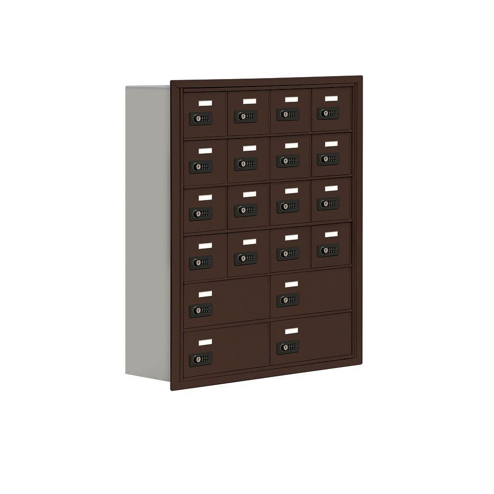 19000 Series 30.5 in. W x 36.5 in. H x 8.75 in. D 16 A/4 B Doors R-Mount Resettable Locks Cell Phone Locker in Bronze