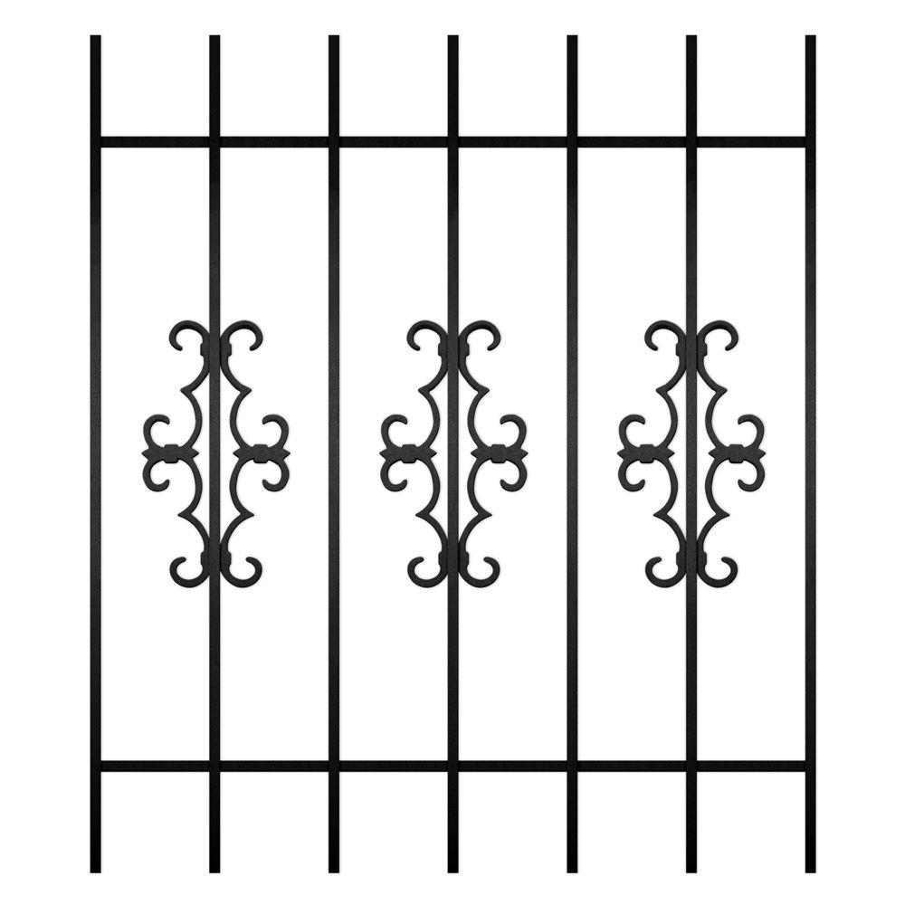 Unique Home Designs Watchman Trio 36 in. x 42 in. Black 7-Bar Window Guard-DISCONTINUED