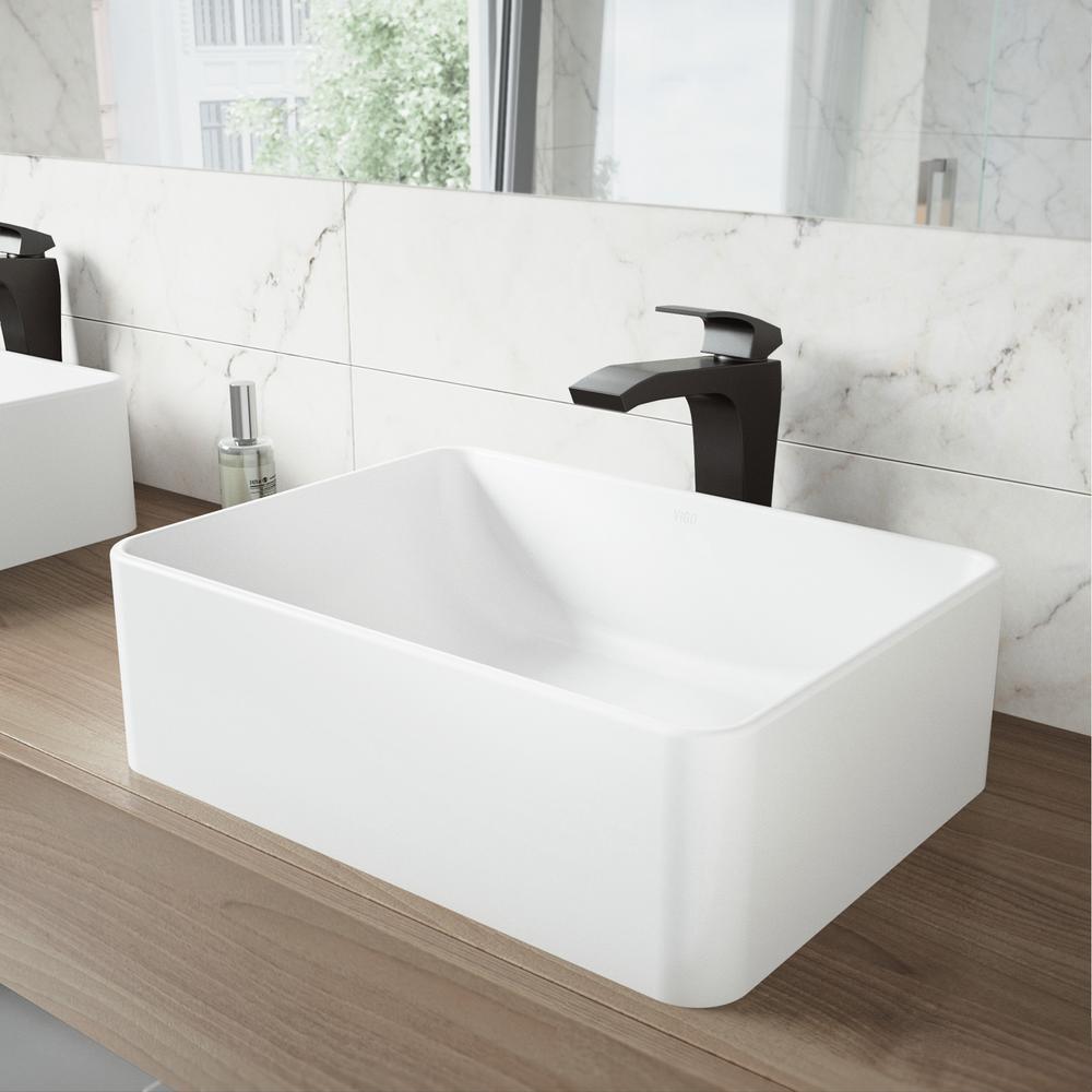 AmaryllisMatte Stone Vessel Sink and Blackstonian Bathroom Vessel Faucet in Matte Black