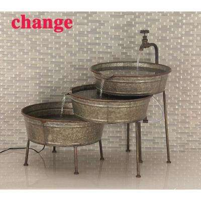 Gray 3-Stacked Tubs Under Faucet Metal Fountain