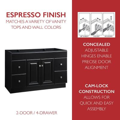 Wyndham 48 in. W x 21 in. D Ready to Assemble Bath Vanity Cabinet Only in Espresso