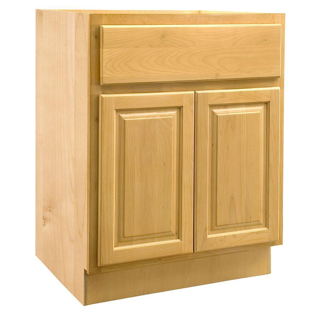 Home Decorators Collection Assembled 30x34.5x24 in. Sink Base Cabinet with False Drawer Front in Vista Honey Spice