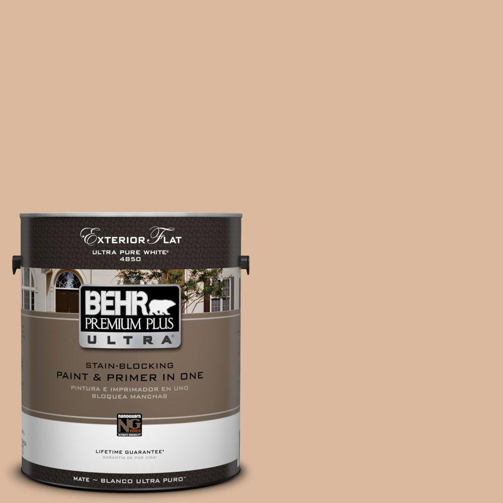 BEHR Premium Plus Ultra 1-Gal. #UL130-9 Pumpkin Cream Flat Exterior Paint