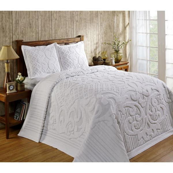 Ashton 1 Piece White Queen Bedspread