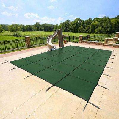 18 ft. x 34 ft. Rectangular Green In Ground Deck Lock Safety Pool Cover with 8 ft. Center Step