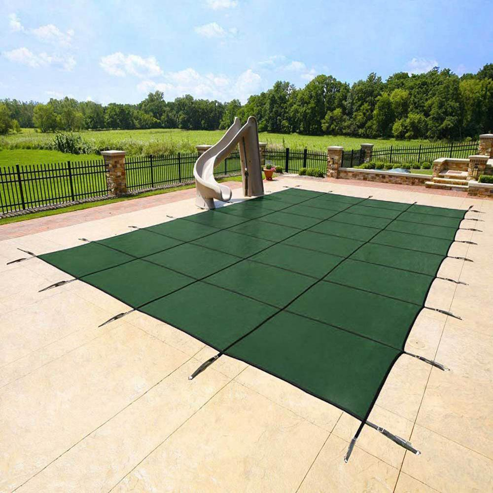 Yard Guard 18 ft. x 34 ft. Rectangular Green Deck-Lock In Ground Safety Pool Cover with Center Step